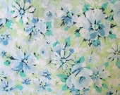 1970's Vintage Full Size Flat Sheet, Floral in Blues and Greens, Vintage Floral Pattern, Vintage Bedding, Vintage Fabric