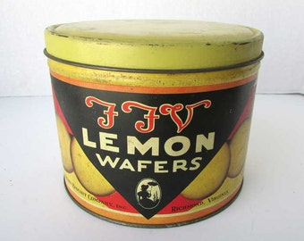 Vintage 1940 FFV Lemon Wafers Cookies Tin, Advertising Tin, Southern Biscuit Co,, Lemon Cookies, FFV Factory Pic, Yellow, Red, Black