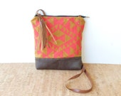 weekdayer - large • crossbody bag - geometric print • neon - hot pink geometric print - screenprinted - burnt orange • vukani