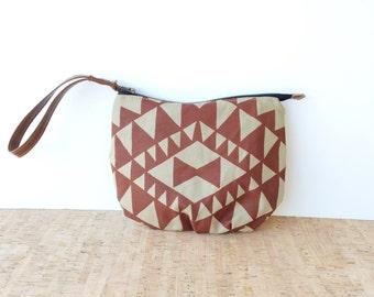 clutch • wristlet strap or tassel - geometric • khaki canvas - hand screenprinted red geometric print - gifts under 50 • vukani