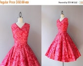 STOREWIDE SALE 1950s Sundress / Vintage 50s Circle Skirt Bombshell Sundress / 1950s Cotton Floral Dress