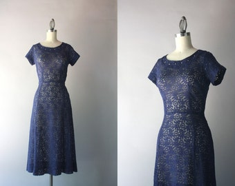 1940s Lace Dress / Vintage 40s Navy Cotton Lace Dress / Rhinestone Studded Sheer Lace Forties Dress