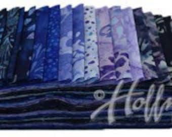 Bali Poppies Blue Hawaiian Hoffman Fabric 20 2 1/2 inch Strips