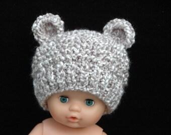 Newborn Baby Bear Hat, Knit Bear Hat, Baby Beanie, Newborn Photo Prop, Baby Boy Hat, Baby Girl Hat, Knitted Baby Hat, Light Gray Bear Hat