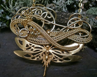 Swirling Gold Dragonfly Necklace