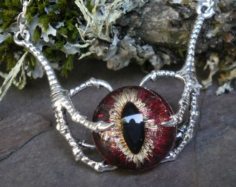 Gothic Steampunk Raven Claw With Black Red Gold Eye