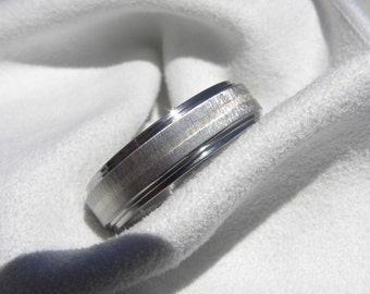 Titanium Ring, Wedding Band, White Gold Stripe, Double Stepped Edges