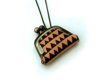 Geometric Coin Purse Necklace, Triangle Necklace,