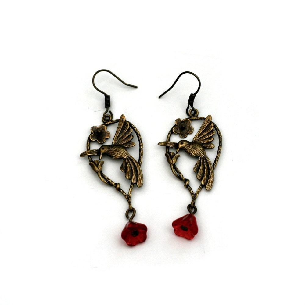 bird jewelry bird earrings nature jewelry dangle earrings 6014