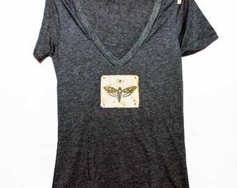 Butterfly + Moth Women's Tshirt, Print Tshirt, Vneck Tshirt, Appliqued Tshirt, Insect Tshirt, Nature Tshirt,  Vintage Style Tshirt