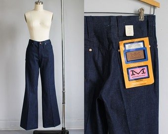 1970s deadstock high waisted dark blue denim wide leg jeans - nwt - xs 25w