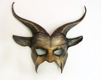 Leather Goat Mask with long horns in brown with black and grey
