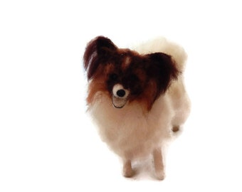 Custom needle felted sculpture of your pet by a Scottish artist. - medium sized. Example Papillon dog