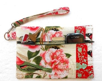 Pink Floral Wristlet, Front Zippered Clutch, Small Ladies Purse, Roses Wallet, Makeup and Phone Bag, Camera or Gadget Holder