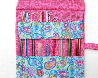 Blue Paisley Knitting Roll Up, Pink Dots Knitting Storage, Straight Needle Case, Crochet Hook Holder, DPN Organizer, Colored Pencil Roll