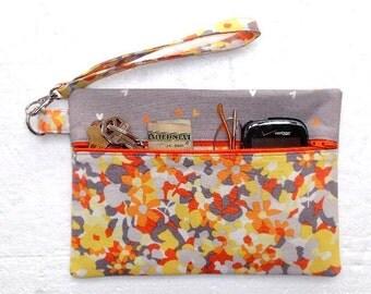 Yellow Floral Wrist Purse, Orange Grey Clutch, Front Zippered Purse, Wristlet, Floral Phone or Camera Bag, Makeup or Gadget Holder, Wallet