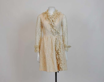 vintage 60s Dress / Vintage 1960's Ruffled Lace Party Dress