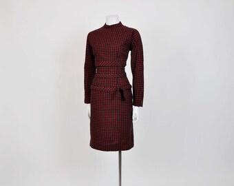 50s dress / Mr Mort's Holiday Plaid Vintage 1950's Wool Wiggle Dress