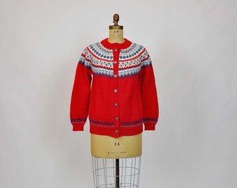 60s sweater /  Dale of Norway Vintage 1960's Nordic Cardigan Sweater