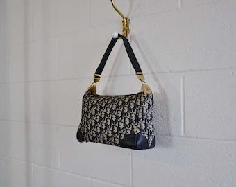 70s purse / Vintage 1970's Blue Dior Logo Handbag Adjustable Strap