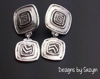 Sterling and fine silver post dangle earrings, designs by Suzyn