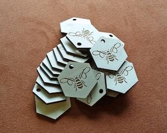 100 wood engraved hang tags - custom cut any shape.