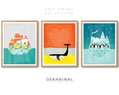 Polar Bear Print, Whale Print, Penguin Print, Nursery print set of 3, Nursery animal Art, Kids room art, Nursery room Art