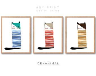 Cat print set of 3, Cat illustration, Cat Art print, Animal Prints, Pet Portrait, Home Decor, Wall Art, Kids room art, baby Nursery Decor