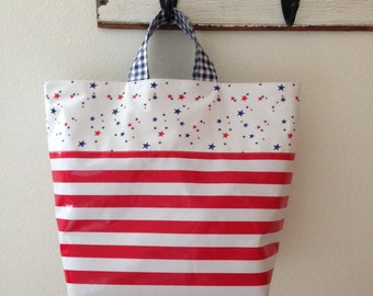 Beth's Patriotic Red, White and Blue Oilcloth Grocery Market Tote Bag