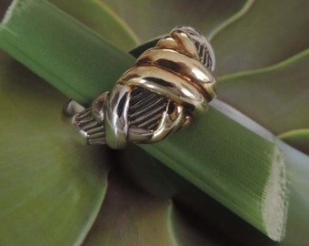 Sterling Silver n Gold over Silver Knotted Ring