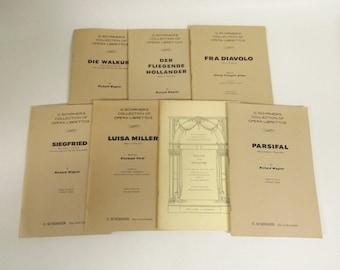 Lot of 7 G. Schirmer Opera Librettos Fra Diavolo Parsifal Luisa Miller Vintage
