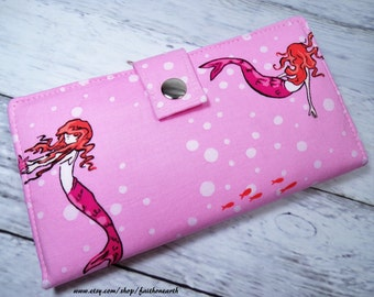 Handmade Long Wallet  BiFold Clutch - Vegan Wallet - Mermaids at Play in pink