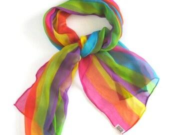 Vintage Chiffon Scarf in Rainbow Stripes / Long Sheer Scarf / Hand Rolled Hem