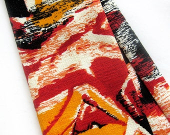 Mid Century Barkcloth Tiki Tie in Bold Tropical Print Men Hawaiian Necktie with Square End / Tiki Oasis