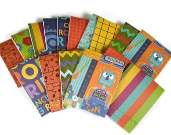 Set of 20 Matchbook Notepads Mini Note Pads in Robot Friends