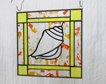 Stained Glass Panel, Unique Sea Shell Suncatcher, Beveled Nautical Window Treatment, Glass Yard Art, Beach Home Decor, Stained Glass Conch