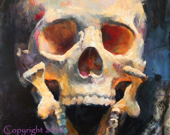 "Skull Painting Original Art ""Cross Bite"" by Kristina Laurendi Havens Skull Decor"