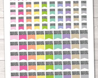 ON SALE Glitter Flags Printable Planner Stickers PDF