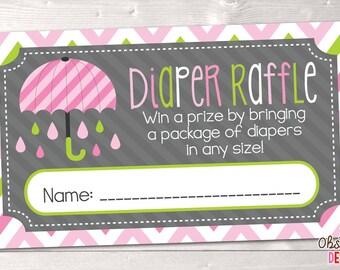 Printable Diaper Raffle Tickets Pink & Green Umbrella INSTANT DOWNLOAD PDF