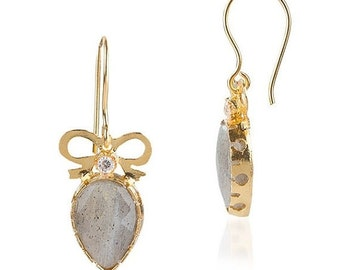 15% Discount Labrodorite Drop Bow Earrings