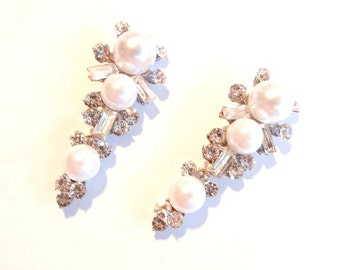 Pair of Silver-tone Rhinestone Faux Pearl Drop Charms