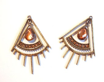 Pair of Antique Gold-tone Triangle Abstract Eye Lash Charms Rhinestones
