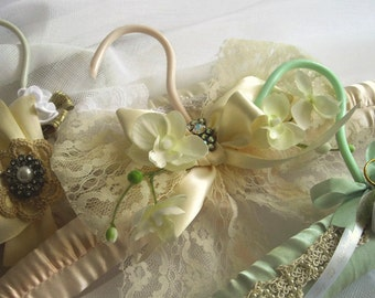 Mint Green Satin Keepsake Bridal Hanger One Of A Kind Special Occasion Pageant  Handmade Crocheted Ribbon Roses Pearls