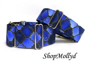ONE Blue Martingale collar, greyhound martingale, galgo collar, sighthound ,wolfhound, 2 in martingale, 1.5 in martingale