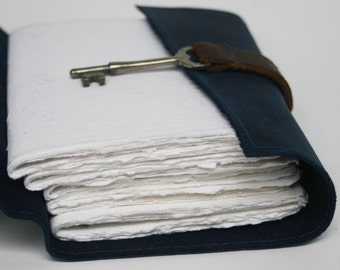 Navy Blue Leather Journal with handmade paper and skeleton key