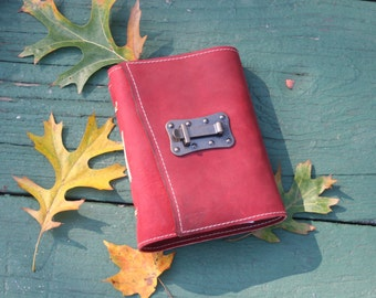Red leather journal with metal latch closure / handbound leather book / leather journal