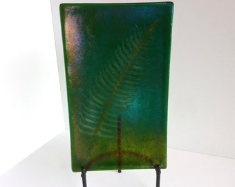 Irridescent Green Fossil Vitra Fern Fused Glass Platter or Plate by BPRDesigns