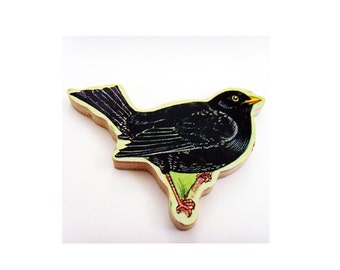 Blackbird Brooch - Pin / Upcycled 1960s Hand Cut Wood Puzzle Pieces / Black Feathered Bird & Wood Name Pin / Unique Gift Under 50