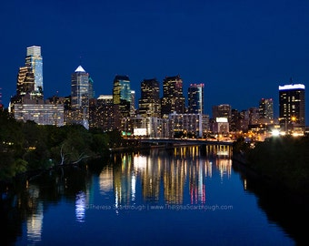 Philadelphia Skyline Dusk, landscape photography, wall art decor,  available in color or black and white.
