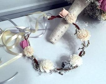 Flower crown- sola flowers - choose your colors - flower girl wand - Alternative bouquet - bridesmaids bouquet - flower girl bouquet